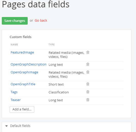 Sitefinity page custom field list